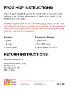 Frog Hop Instructions